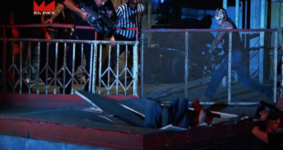 Rey Mysterio Slams Matanza through bleachers - Wrestling Examiner