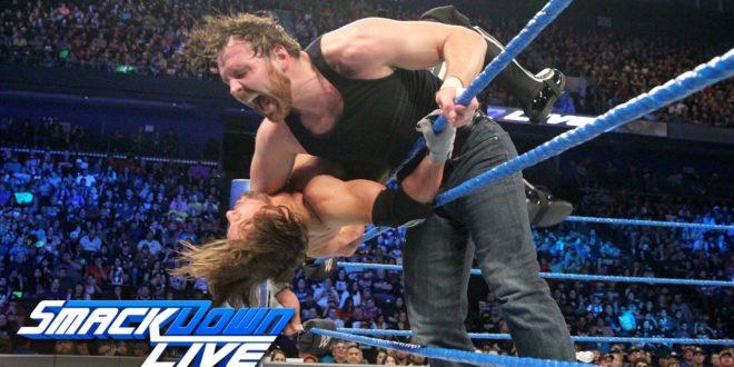 Dean Ambrose clotheslines AJ Styles - Wrestling Examiner