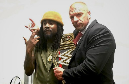 Wale with Triple H at Raw - WrestlingExaminer.com