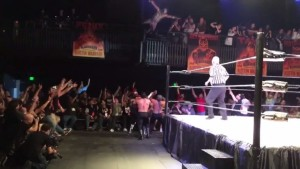Aero Star Balcony Dive - Wrestling Examiner - WrestlingExaminer.com