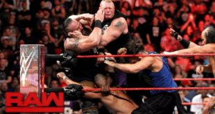 Samoa Joe, Brock Lesnar, Braun Strowman, and Roman Reigns on Raw - Wrestling Examiner